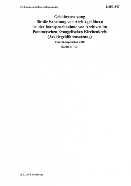 1.400-547 KK Pommern Archivgebührensatzung