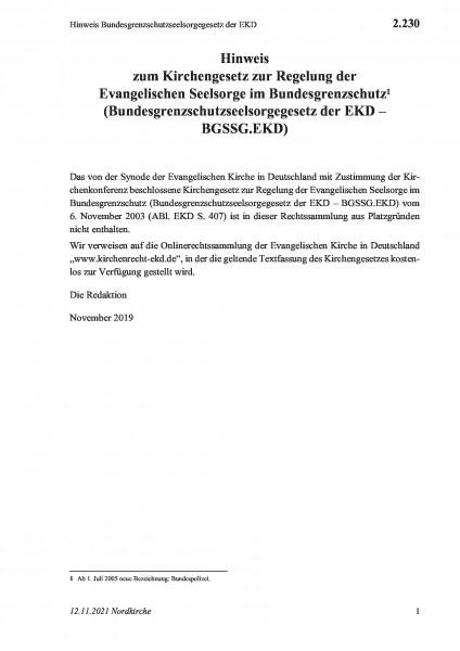 2.230 Hinweis Bundesgrenzschutzseelsorgegesetz der EKD