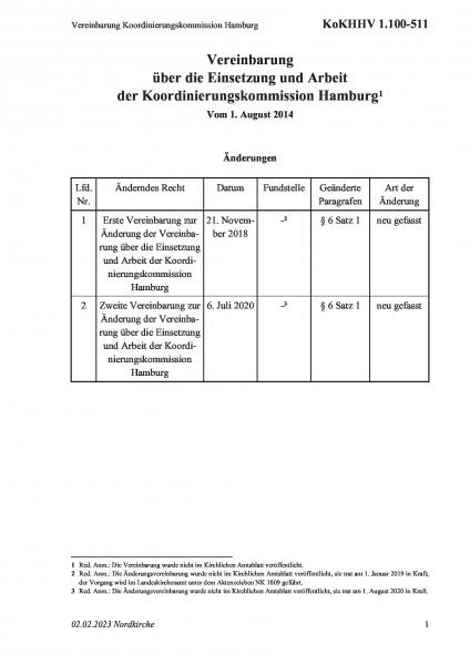1.100-511 Vereinbarung Koordinierungskommission Hamburg