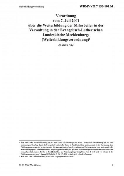 7.153-101 M Weiterbildungsverordnung