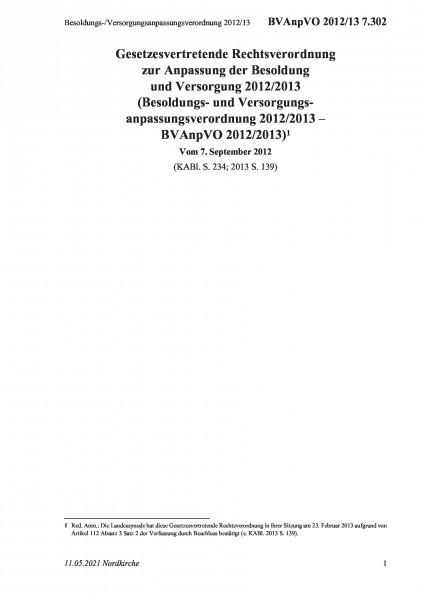 7.302 Besoldungs-/Versorgungsanpassungsverordnung 2012/13