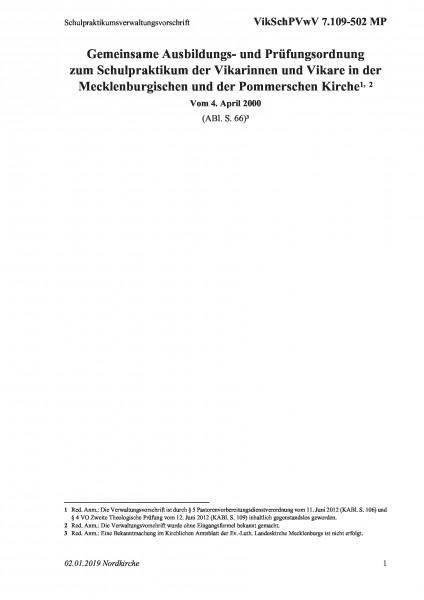 7.109-502 MP Schulpraktikumsverwaltungsvorschrift