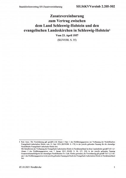 2.205-502 Staatskirchenvertrag SH-Zusatzvereinbarung