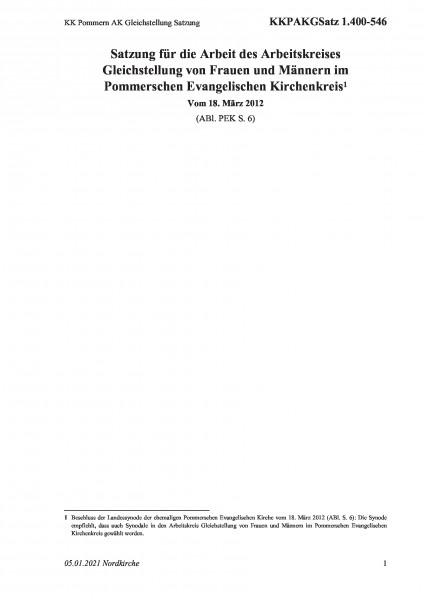 1.400-546 KK Pommern AK Gleichstellung Satzung