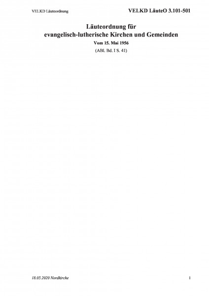 3.101-501 VELKD Läuteordnung