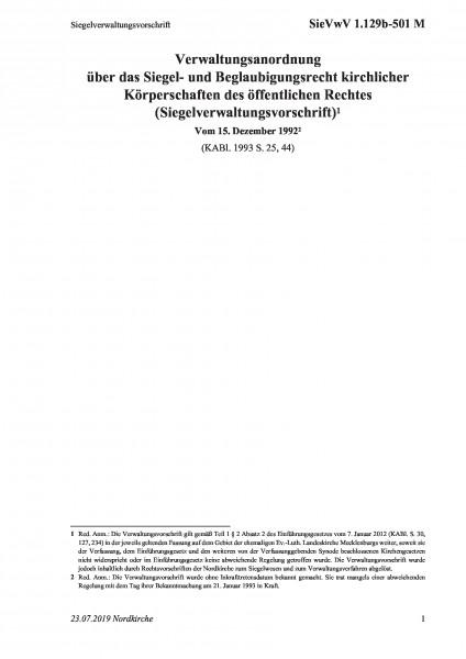 1.129b-501 M Siegelverwaltungsvorschrift