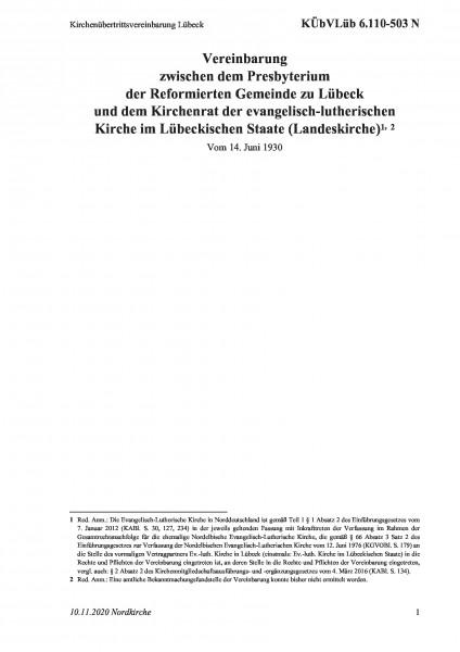 6.110-503 N Kirchenübertrittsvereinbarung Lübeck