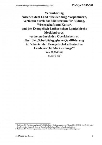 2.203-507 Vikariatsschulqualifizierungsvereinbarung – MV