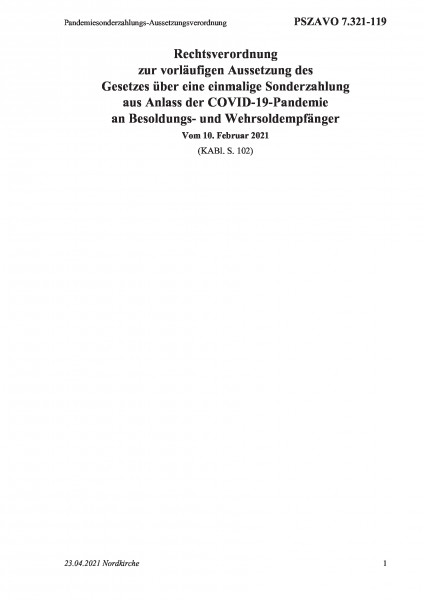7.321-119 Pandemiesonderzahlungs-Aussetzungsverordnung