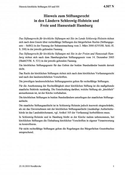 4.507 N Hinweis kirchliche Stiftungen SH und HH