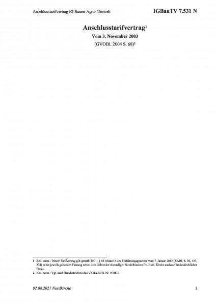 7.531 N Anschlusstarifvertrag IG Bauen-Agrar-Umwelt