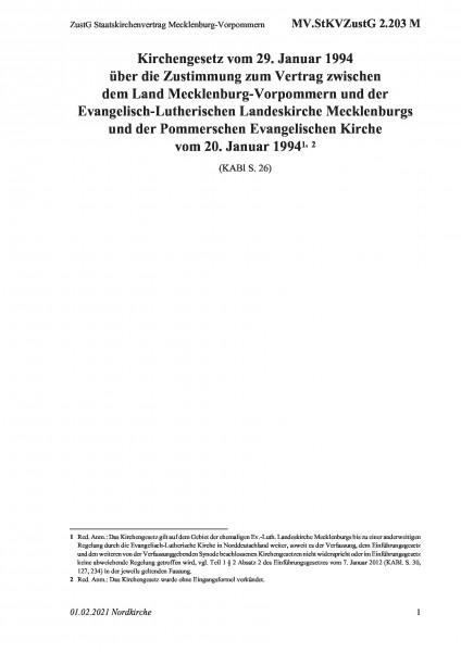 2.203 M ZustG Staatskirchenvertrag Mecklenburg-Vorpommern