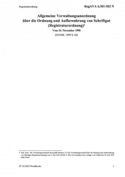 6.301-502 N Registraturordnung