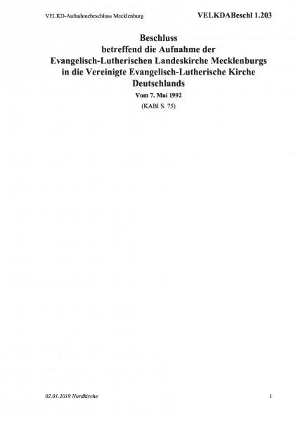 1.203 VELKD-Aufnahmebeschluss Mecklenburg