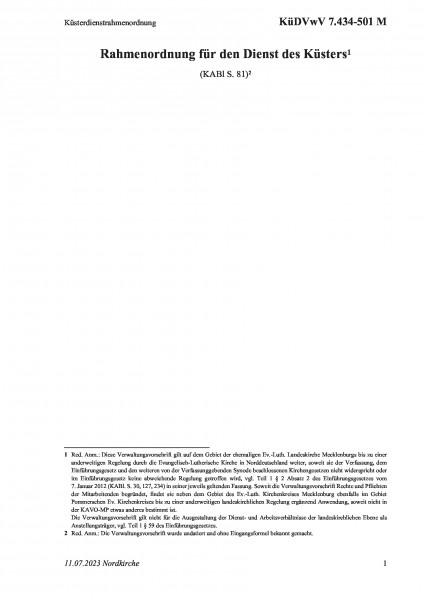 7.434-501 M Küsterdienstrahmenordnung