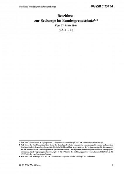 2.232 M Beschluss Bundesgrenzschutzseelsorge