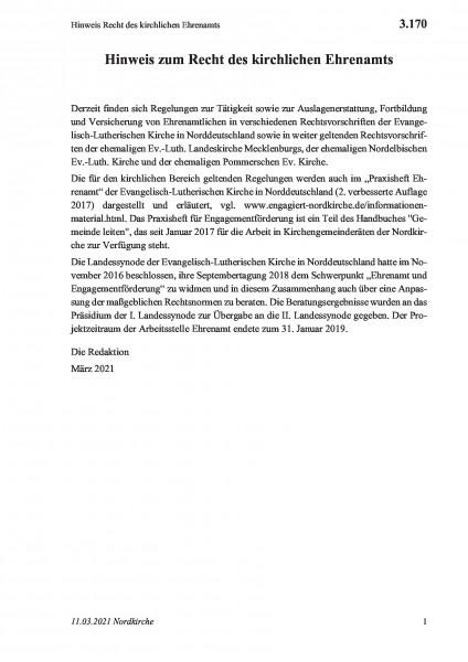 3.170 Hinweis Recht des kirchlichen Ehrenamts