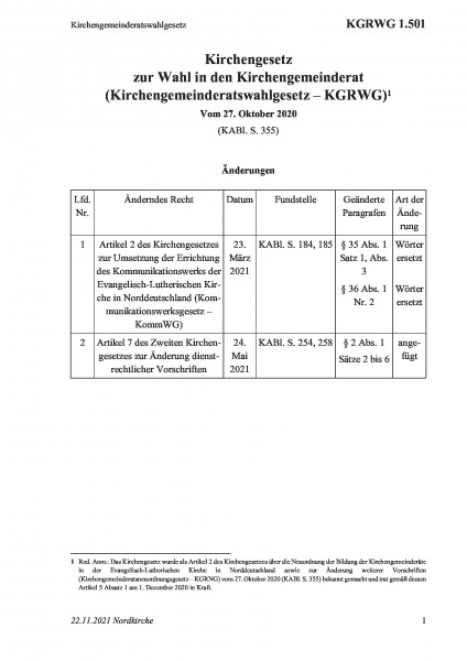 1.501 Kirchengemeinderatswahlgesetz