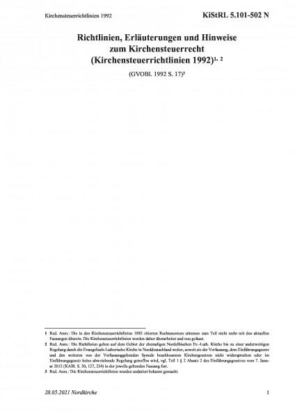 5.101-502 N Kirchensteuerrichtlinien 1992