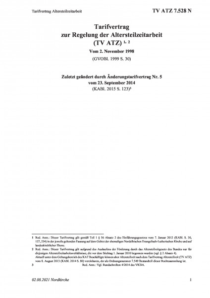 7.528 N Tarifvertrag Altersteilzeitarbeit
