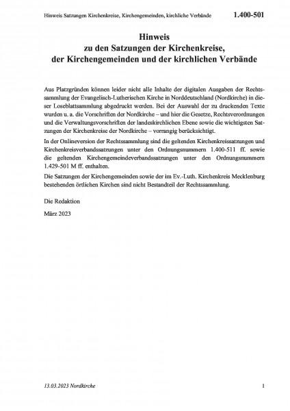 1.400-501 Hinweis Satzungen Kirchenkreise, Kirchengemeinden, kirchliche Verbände