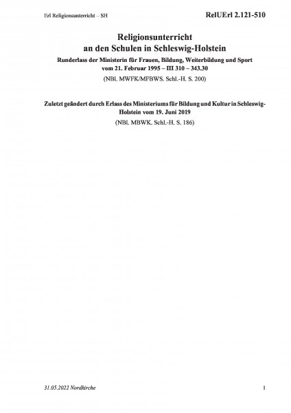 2.121-510 Erl Religionsunterricht – SH